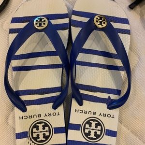 Blue Tory Burch Flip Flops
